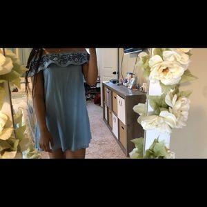 Over The Shoulder Blue Dress